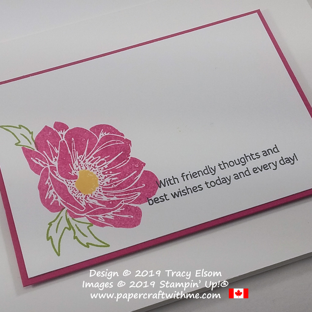 Close up of simple card with wild rose created using the Floral Essence Stamp Set from Stampin' Up! #simplestamping