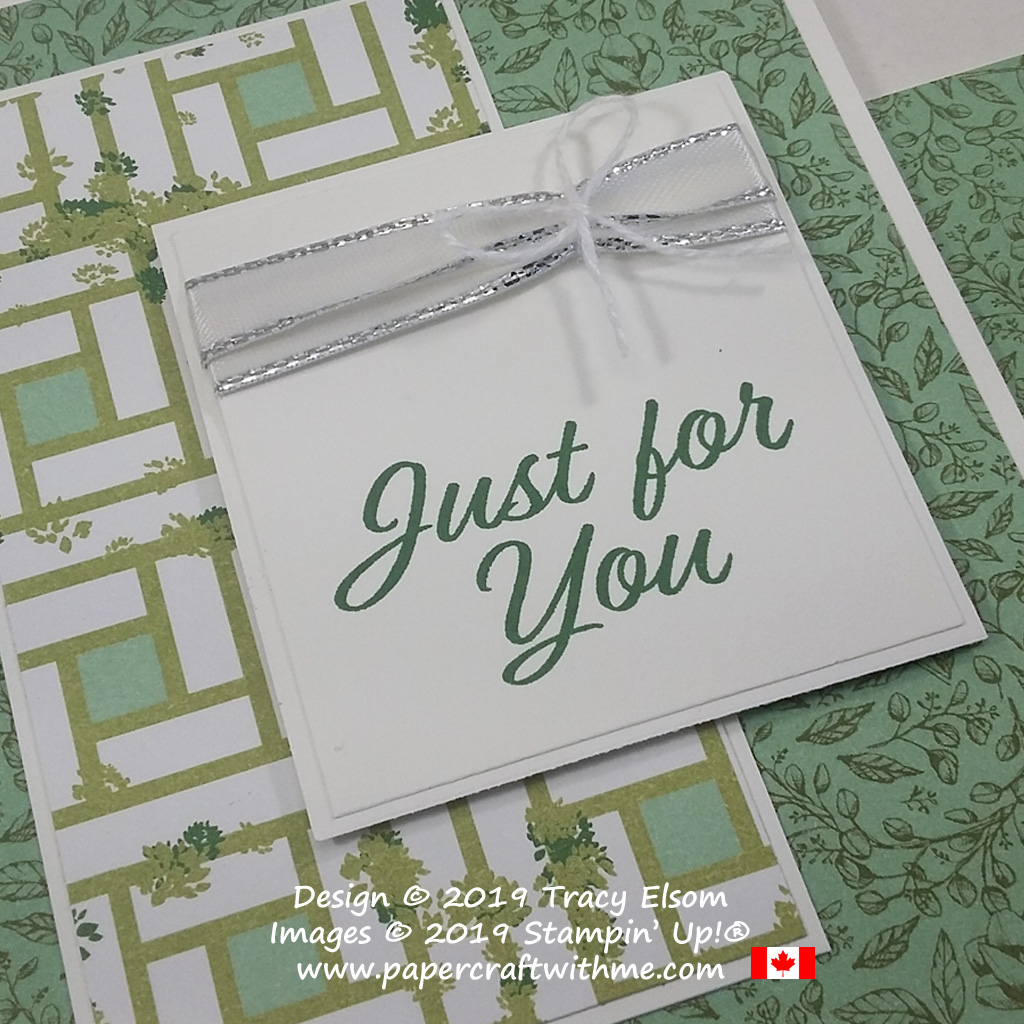 "Close up of ""Just for you"" card in shades of green created using the Meant to Be Stamp Set and Garden Lane DSP from Stampin' Up!"