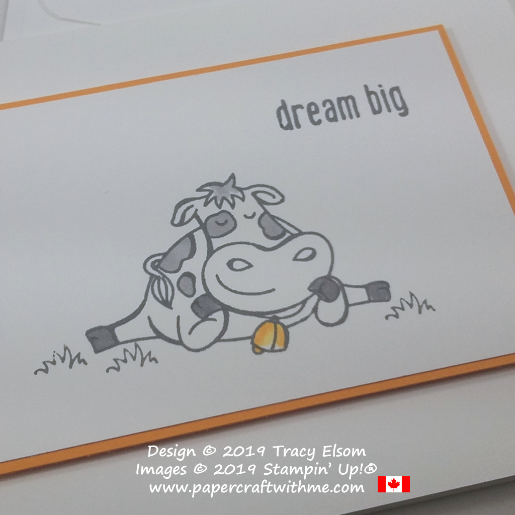 """Close up of simple card with cow and """"dream big"""" sentiment from the Over The Moon Stamp Set by Stampin' Up!"""