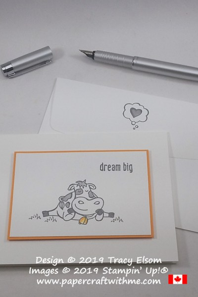 "Simple card with cow image and ""dream big"" sentiment from the Over The Moon Stamp Set by Stampin' Up!"