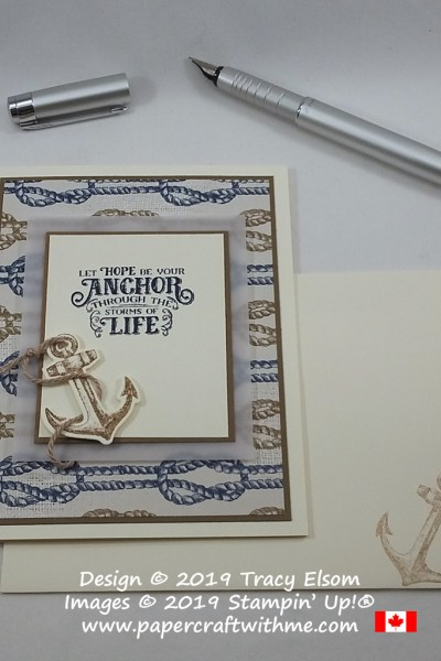 "Inspirational card with ""Let hope be your anchor through the storms of life"" sentiment from the Sailing Home Stamp Set by Stampin' Up!"