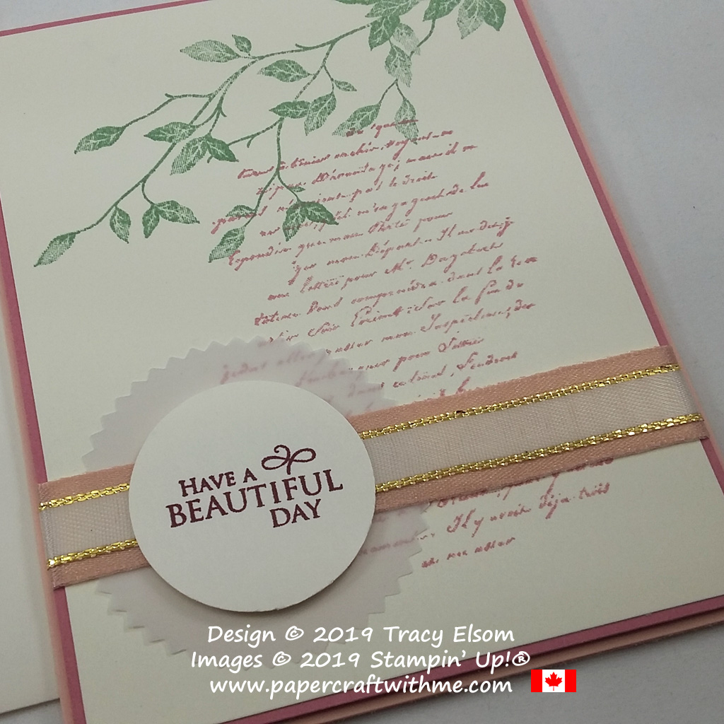 "Close up of card with background images and ""Have a beautiful day"" sentiment from the Very Versailles Stamp Set from Stampin' Up!"