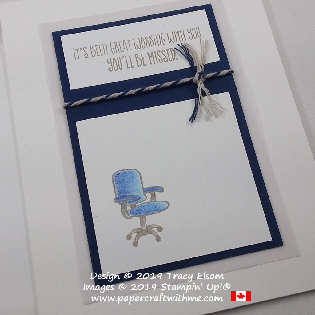 Close up of leaving card with office chair created using the Welcome To The Team Stamp Set from Stampin' Up!