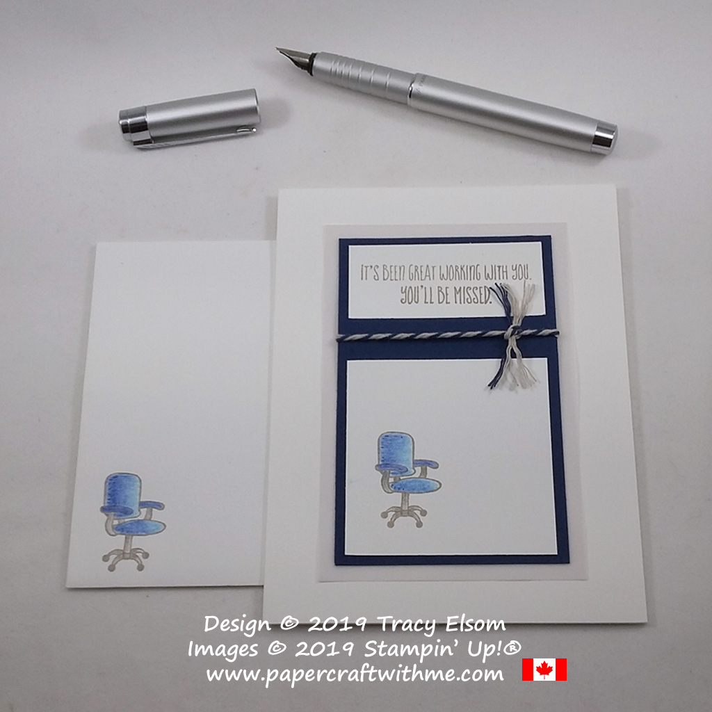 """You'll be missed"" card with office chair created using the Welcome To The Team Stamp Set from Stampin' Up!"