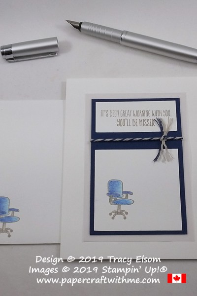 Leaving card with office chair created using the Welcome To The Team Stamp Set from Stampin' Up!