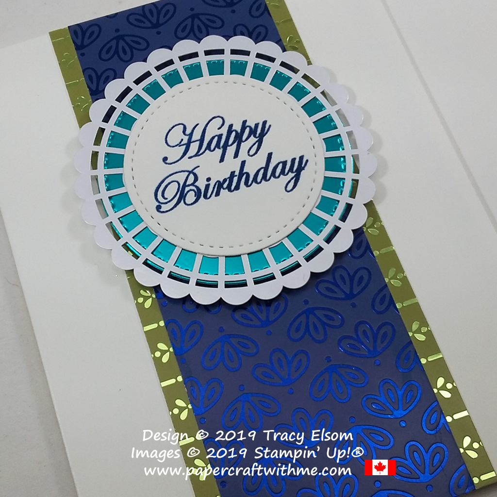 Close up of masculine / gender neutral birthday card created using the Noble Peacock Specialty Designer Series Paper and Noble Peacock Foil from Stampin' Up!