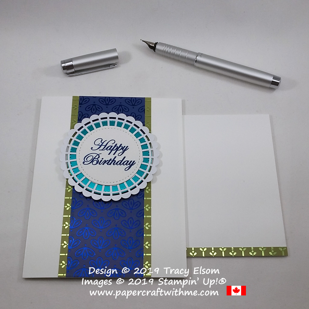 Masculine / gender neutral card created using the Noble Peacock Specialty Designer Series Paper and Noble Peacock Foil, with happy birthday sentiment from the Magnolia Blooms Stamp Set, all from Stampin' Up!