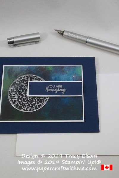 "Masculine / gender neutral card with heat embossed laser-cut vellum and ""You are amazing"" sentiment from the June 2019 Paper Pumpkin kit - A Little Smile."
