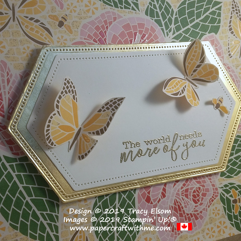 Close up of label on repurposed box decorated using Mosaic Mood Specialty DSP and Free As A Bird Stamp Set from Stampin' Up!