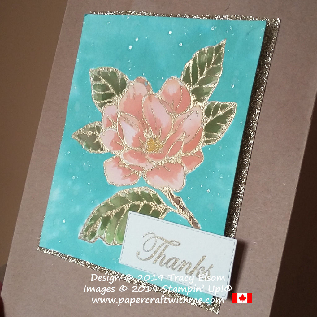 Close up of large gold embossed and watercoloured flower from the Good Morning Magnolia Stamp Set from Stampin' Up!