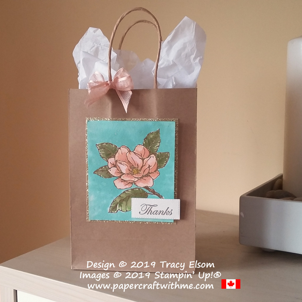Gift bag with large gold embossed and watercoloured flower from the Good Morning Magnolia Stamp Set from Stampin' Up!