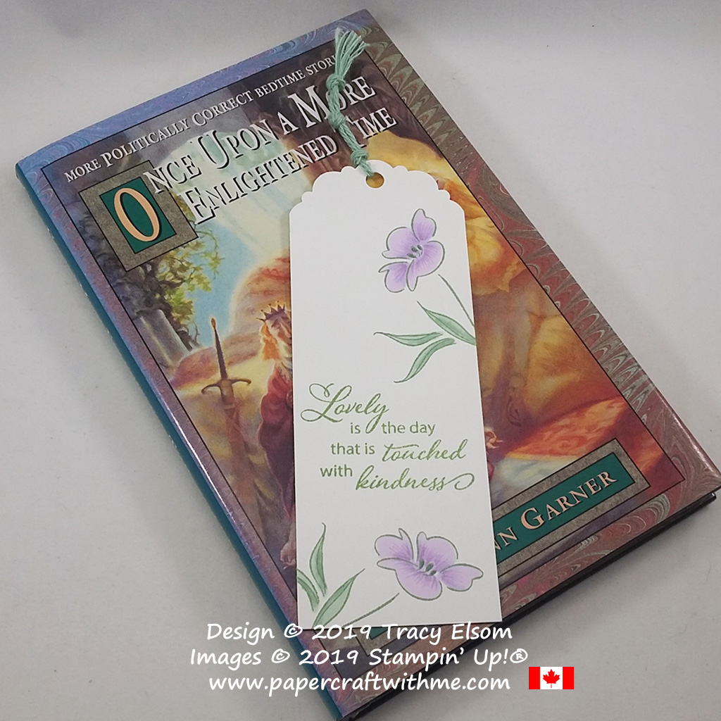Bookmark created using the Lovely Is The Day Stamp Set and coloured using Stampin' Blends and Stampin' Write Markers (all from Stampin' Up!)