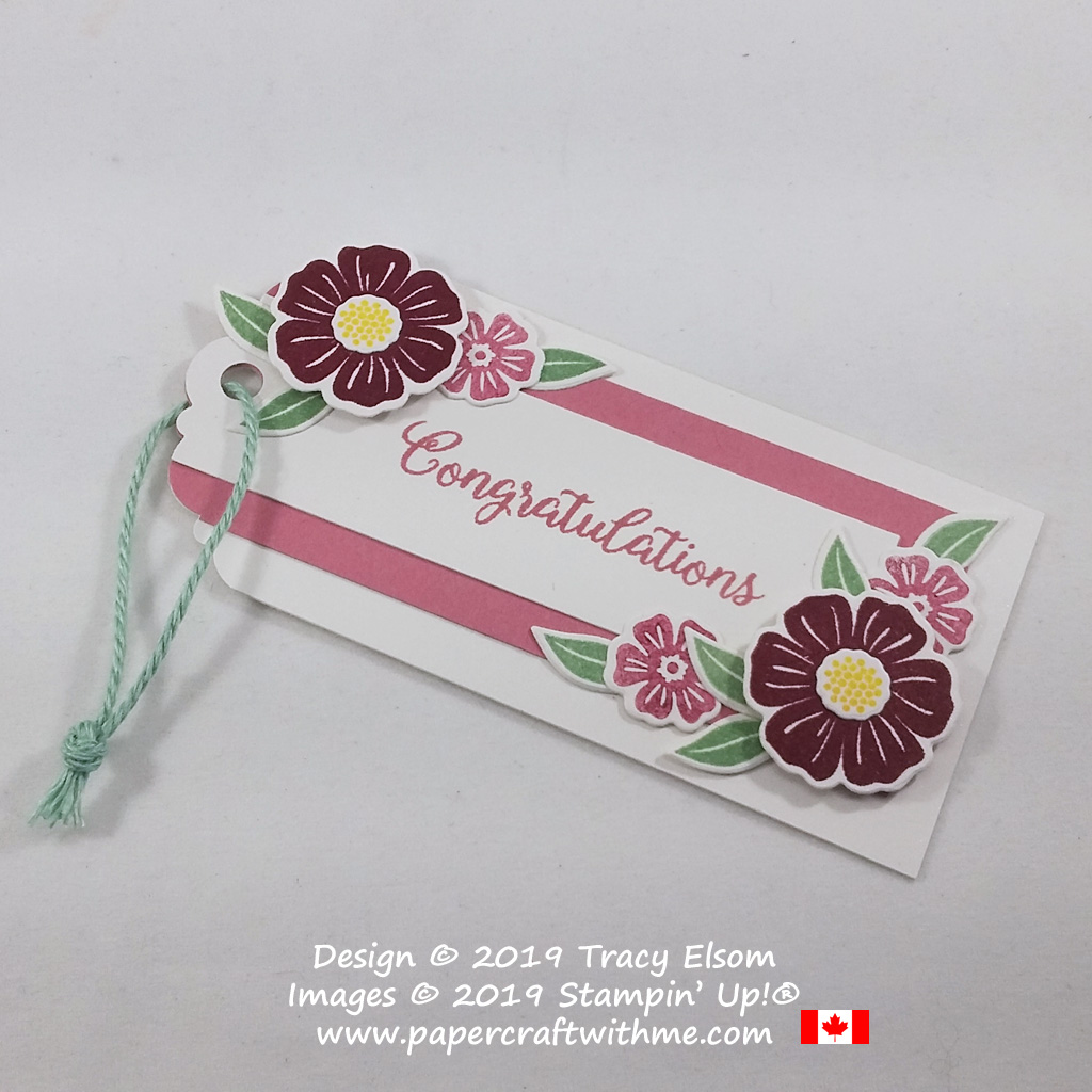 Floral congratulations tag created using the Beautiful Bouquet Stamp Set, Bouquet Bunch Dies and Delightful Tag Topper Punch from Stampin' Up!