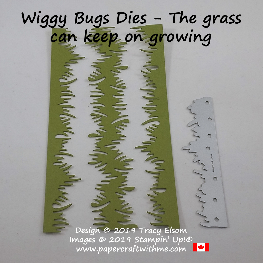 The grass die in the Wiggly Bugs Dies from Stampin' Up! only cuts along the top so it's easy to make pieces as long as you need.