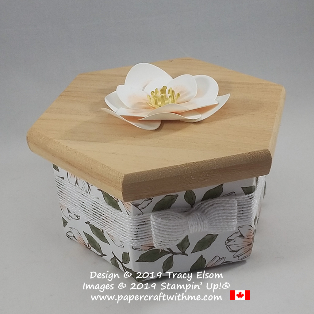 Wooden box decorated using Magnolia Lane DSP and magnolia bloom created using the Magnolia Memory Dies from Stampin' Up!