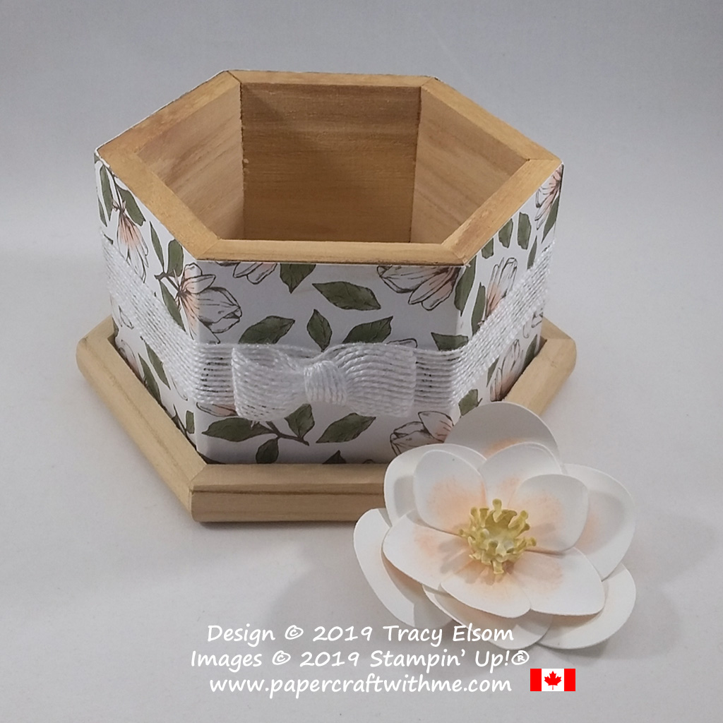 Open wooden storage box decorated using Magnolia Lane DSP with magnolia bloom created using the Magnolia Memory Dies from Stampin' Up!