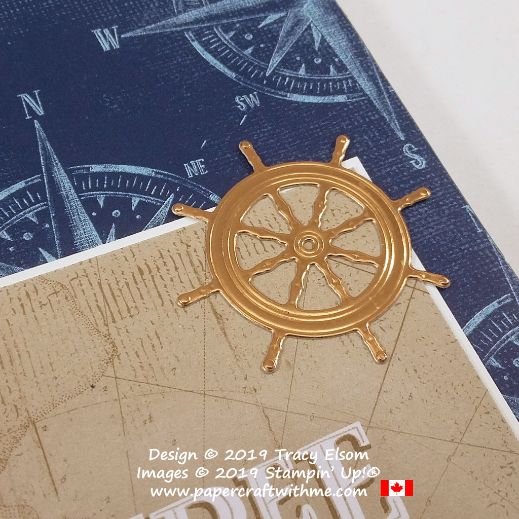 Close up of copper ship's wheel created using the Smooth Sailing Dies from Stampin' Up!