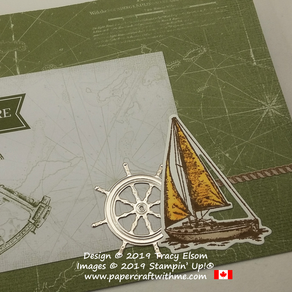 "Close up of 4"" x 6"" pocket photo album decorated with yacht and ship's wheel created using the Sailing Home Stamp Set and Smooth Sailing Dies from Stampin' Up!"