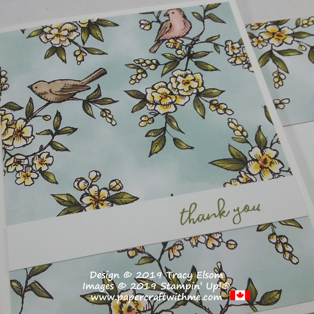 Close up of thank you card created using the Free As A Bird Stamp Set and Bird Ballad Designer Series Paper from Stampin' Up! Part of my Simple Sunday series for papercrafters #simplestamping