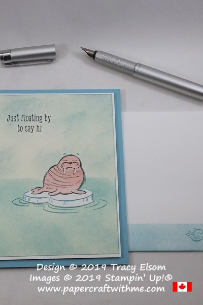 """Just floating by to say hi"" sentiment and walrus image from We'll Walrus Be Friends Stamp Set from Stampin' Up!"