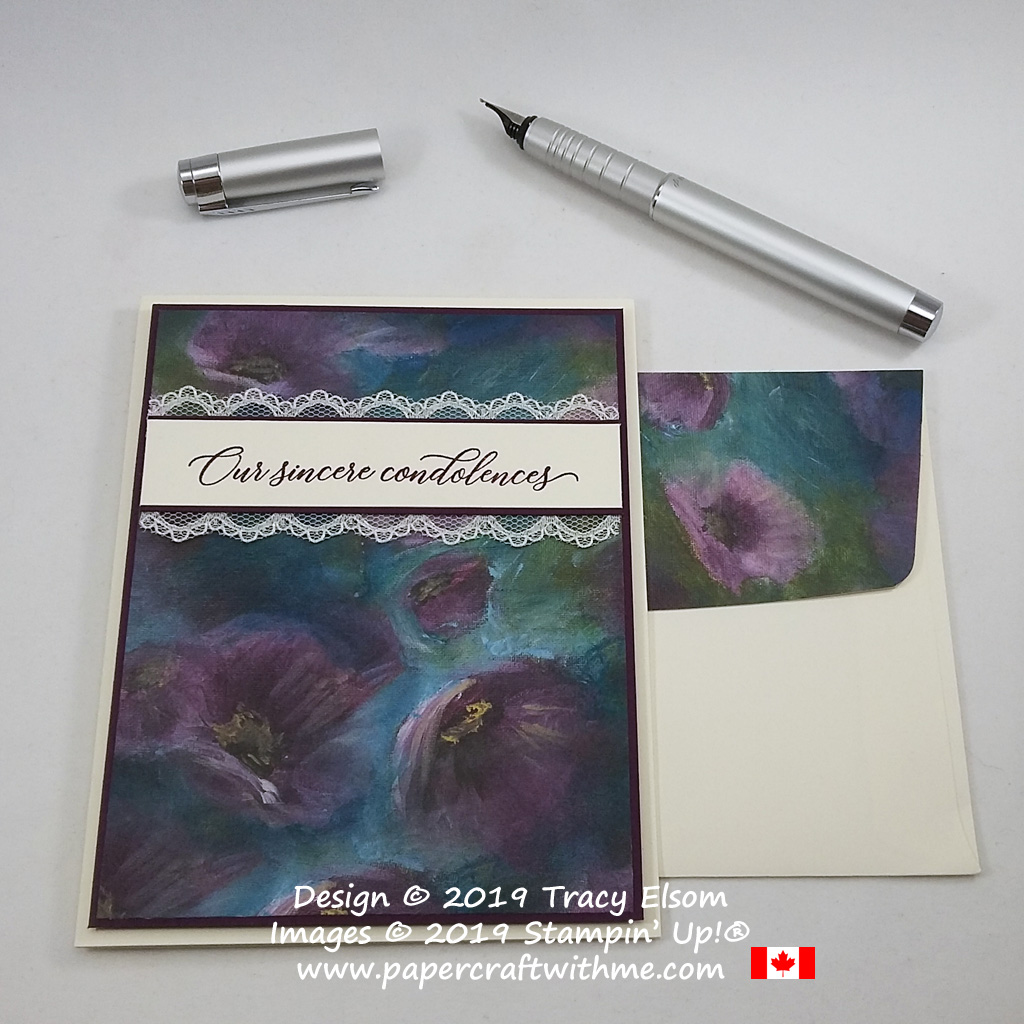 "Sympathy card with ""Our sincere condolences"" sentiment from the Kindness & Compassion Stamp Set from Stampin' Up!"