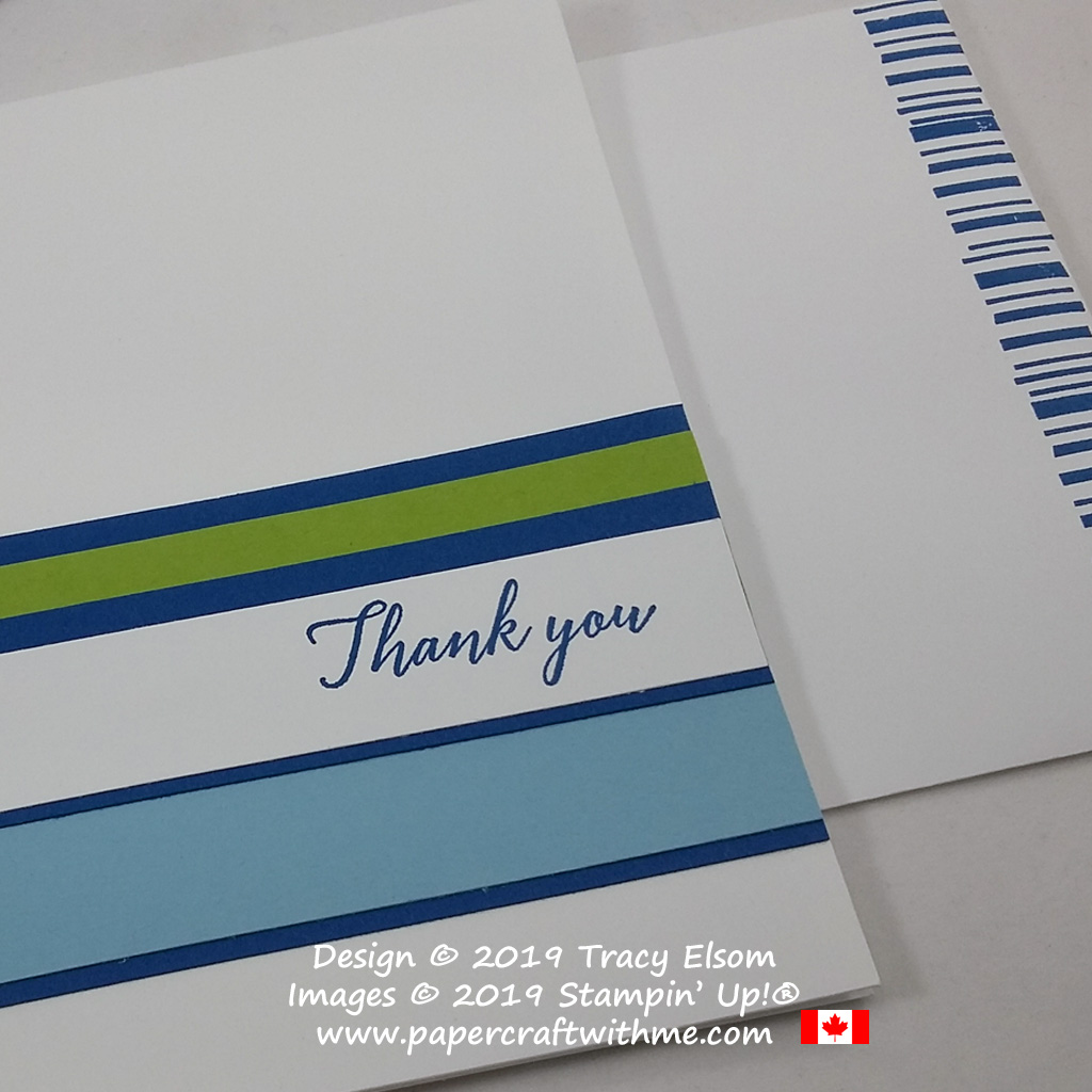 Close up of simple thank you card with barcode inspired bold stripes of colour created using the Tropical Chic Stamp Set from Stampin' Up! #simplestamping