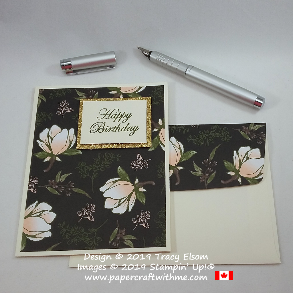 #simplestamping birthday card with Glimmer Paper and Magnolia Blooms DSP topped with a sentiment from the Magnolia Blooms Stamp Set, (all from Stampin' Up!)