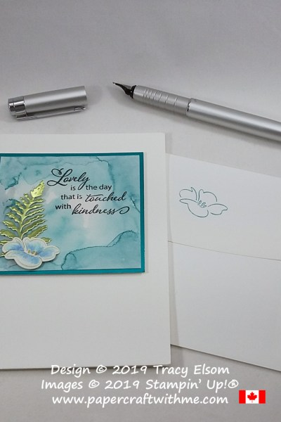 Striking card with kindness sentiment created using the Lovely Is The Day Stamp Set and coordinating Lovely Leaves Dies from Stampin' Up!