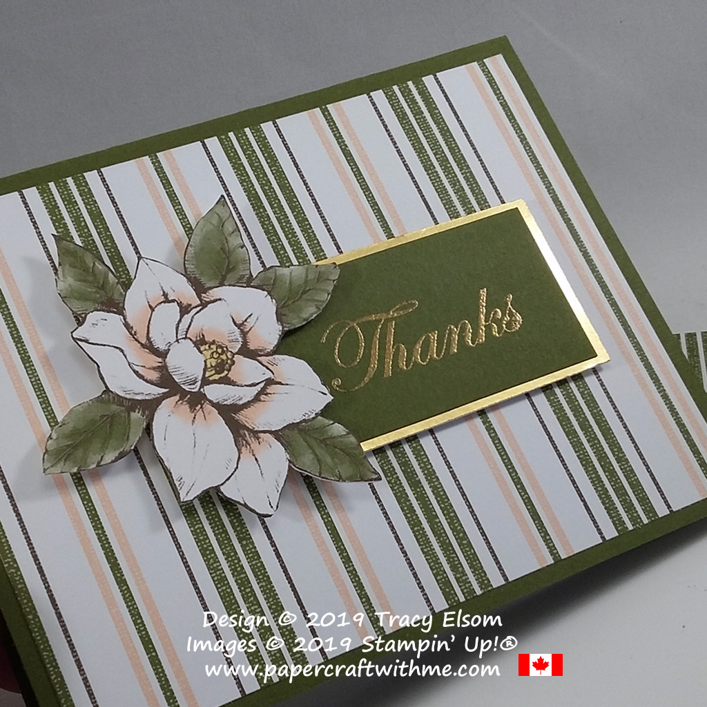 Card with striped background and magnolia image, the thanks sentiment is from the Good Morning Magnolia Stamp Set, all from Stampin' Up!