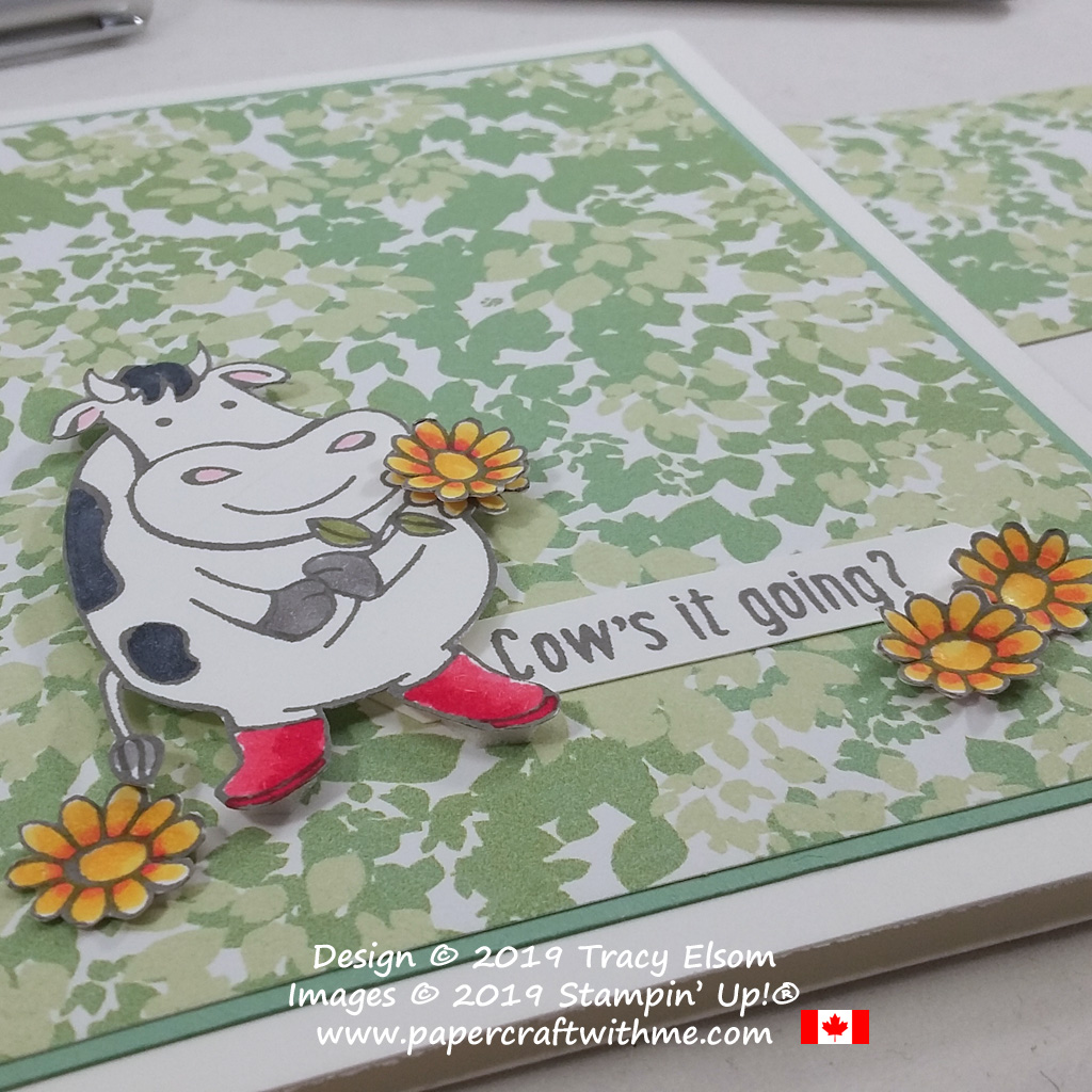 "Close up of fun card with ""cow's it going"" sentiment and images from the Over The Moon Stamp Set from Stampin' Up!"