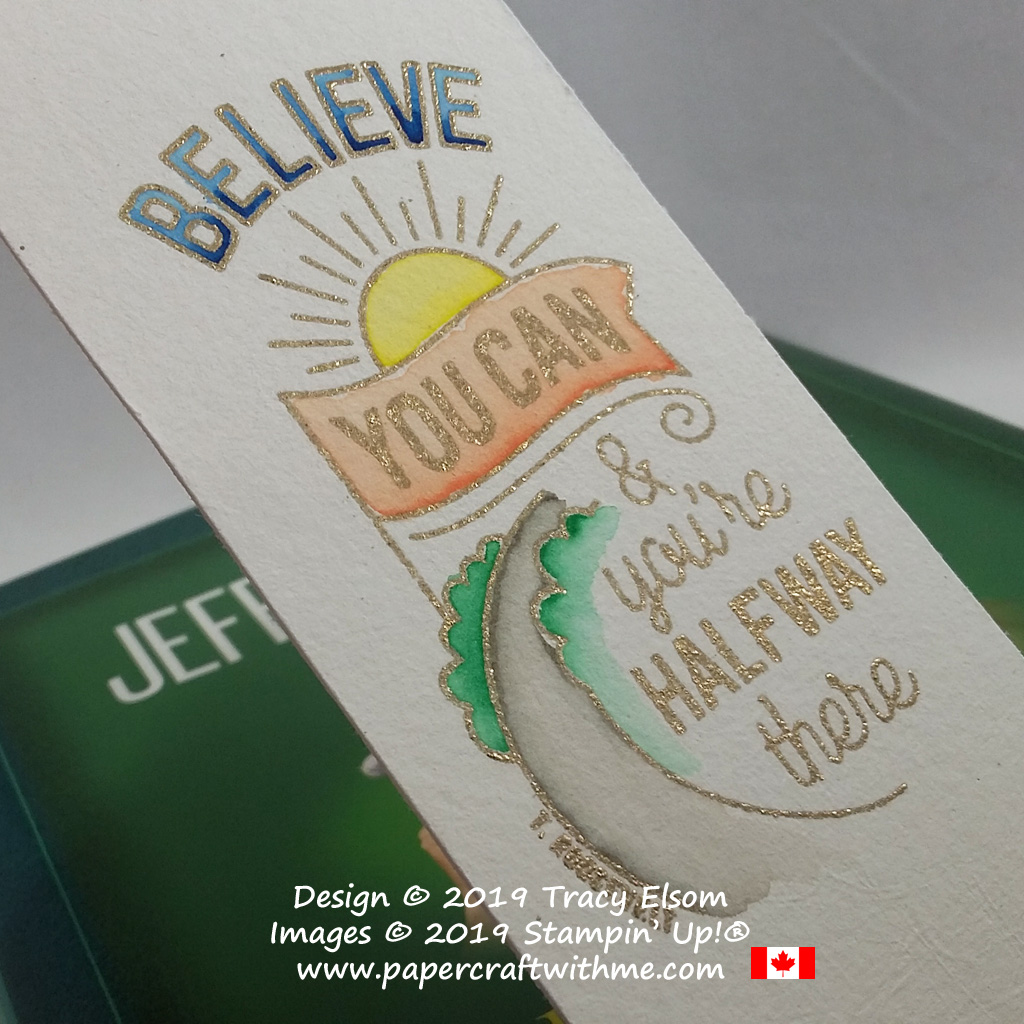 Close up of bookmark created on watercolour paper using Stampin' Write Markers and Believe You Can (Host) Stamp Set from Stampin' Up!