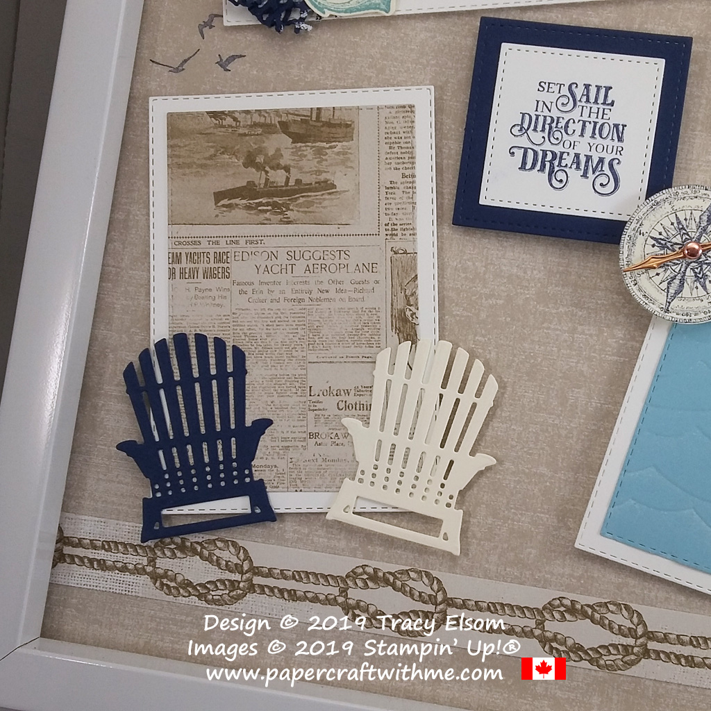 """Bottom left corner of 12"""" x 12"""" frame with sailing images from the Sailing Home Stamp Set and coordinating Smooth Sailing Dies, and chairs cut using the Seasonal Layers Dies, all from Stampin' Up!"""