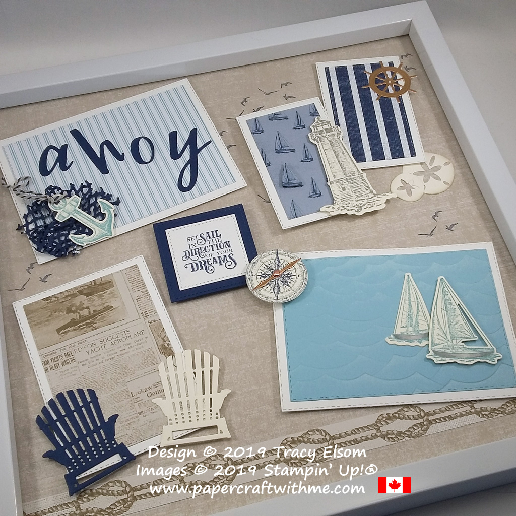 """Multilayered Ahoy 12"""" x 12"""" frame with seaside images created using the Sailing Home Stamp Set and coordinating Smooth Sailing Dies plus Designer Series Paper and other Dies, all from Stampin' Up!"""