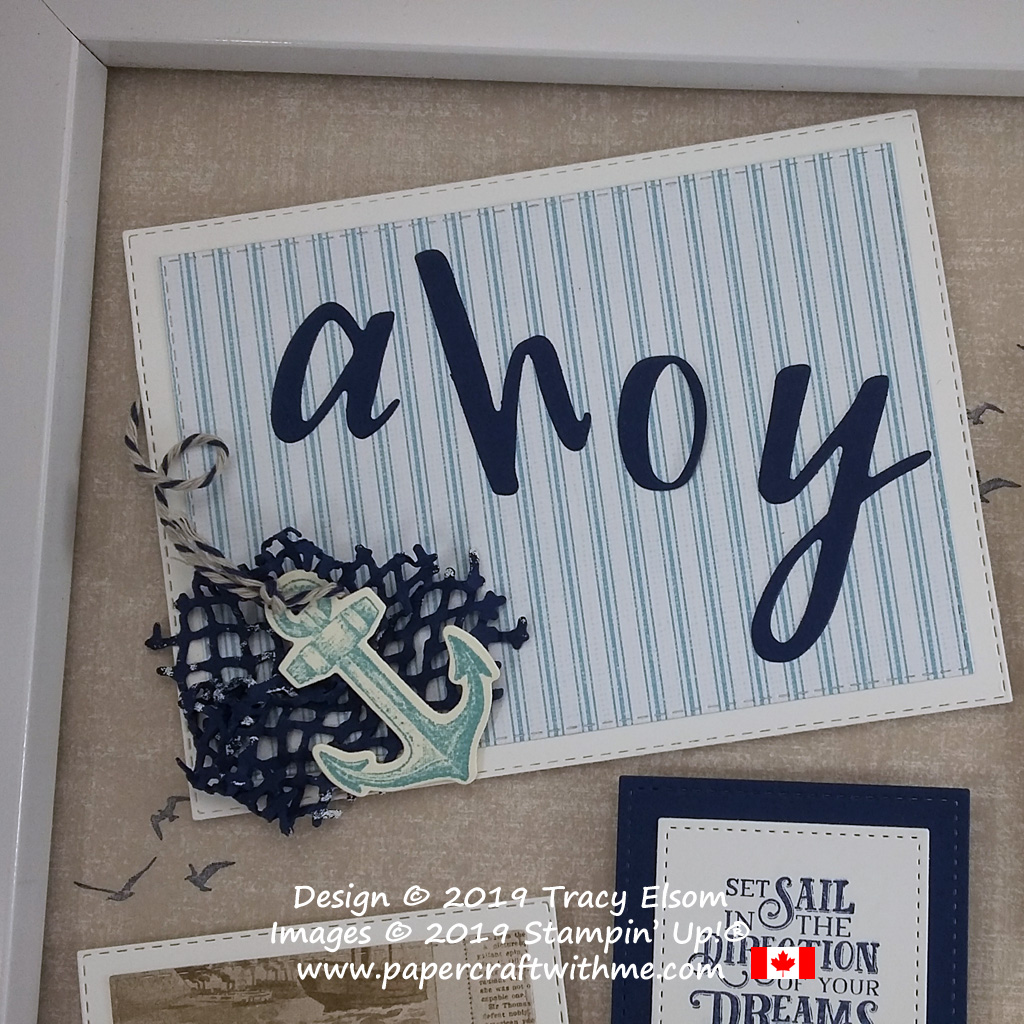 "Top left corner of 12"" x 12"" frame with anchor image from the Sailing Home Stamp Set and coordinating Smooth Sailing Dies, and individual letters cut using Hand-Lettered Prose Dies, all from Stampin' Up!"