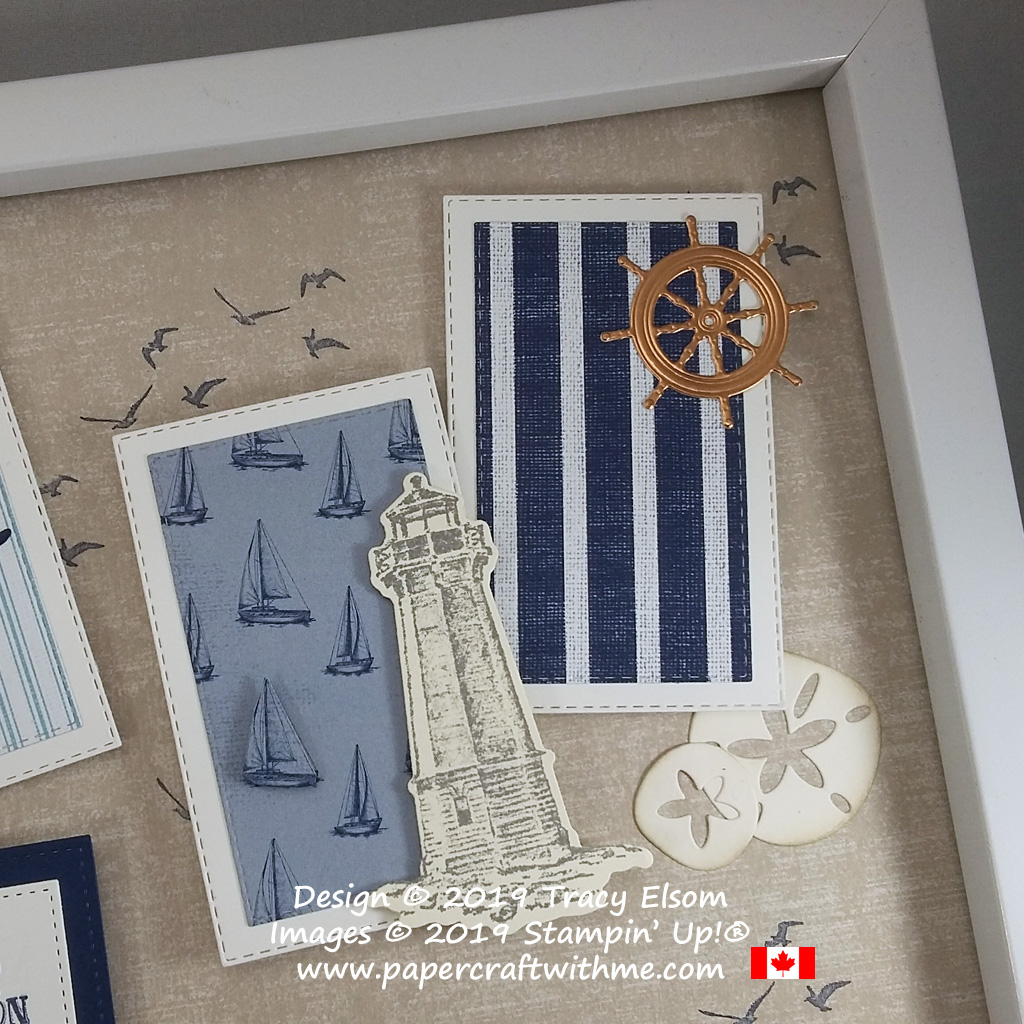"Top right corner of 12"" x 12"" frame with stamped images from the Sailing Home Stamp Set, and accents cut using the coordinating Smooth Sailing Dies and Under The Sea Dies, all from Stampin' Up!"