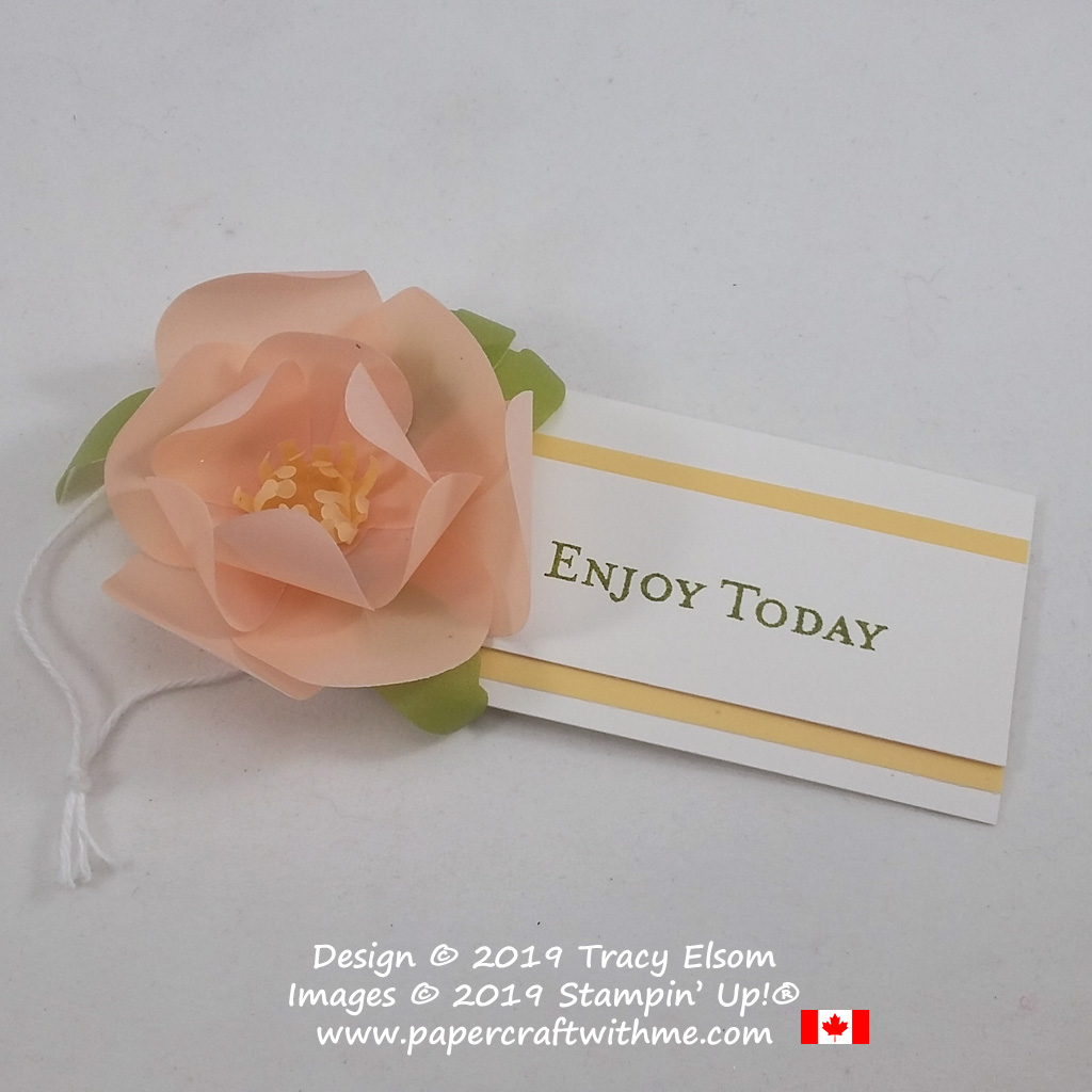 """""""Enjoy today"""" gift tag with coloured vellum flower created using the Good Morning Magnolia Stamp Set and coordinating Magnolia Memory Dies from Stampin' Up!"""