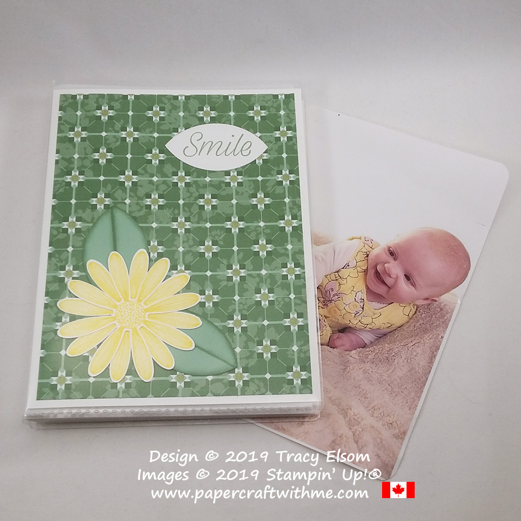 "4"" x 6"" pocket photo album decorated with large daisy image and ""smile"" sentiment from the Daisy Lane Stamp Set from Stampin' Up!"