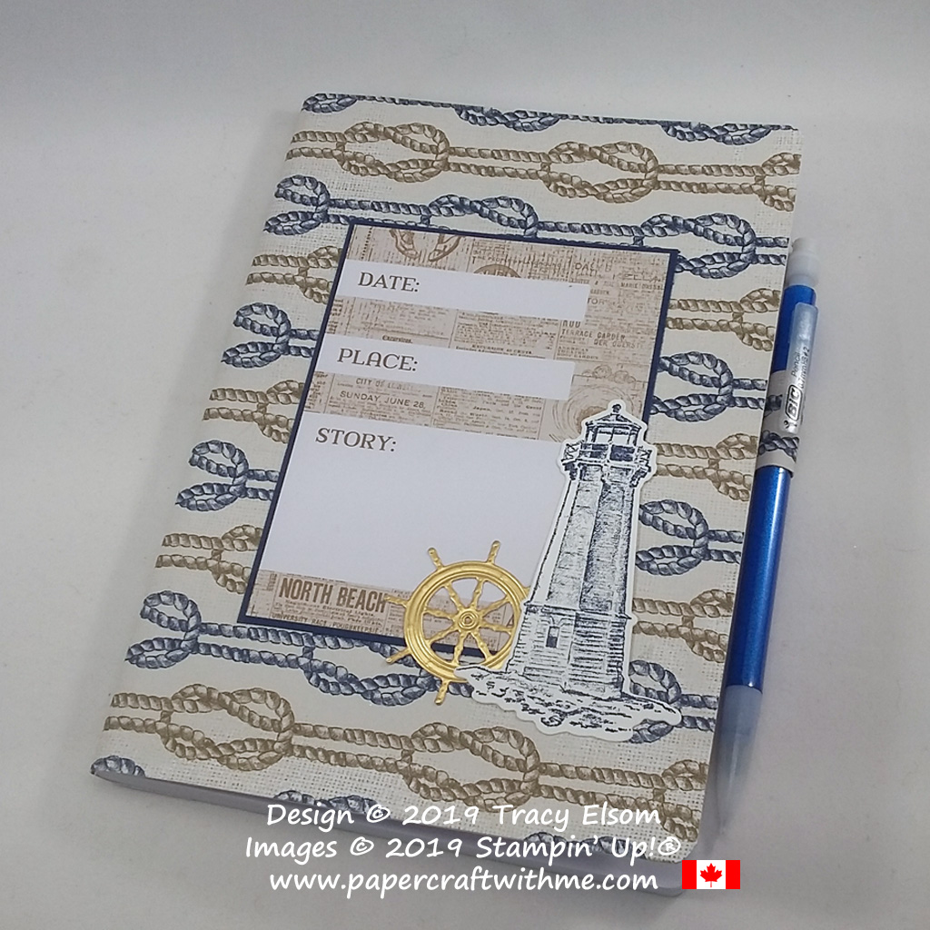 "Decorated ""Date Place Story"" notebook cover created using products from the Come Sail Away Suite from Stampin' Up!"