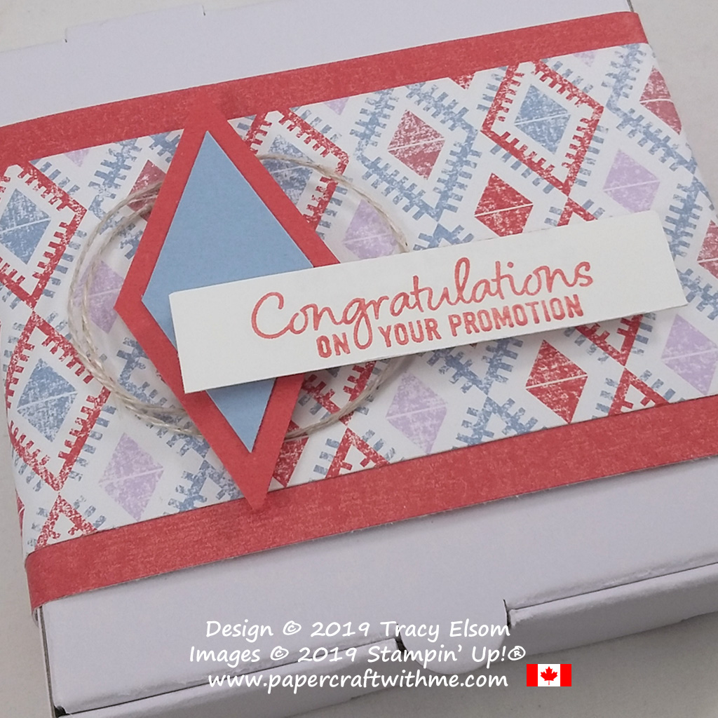 """Close up of Mini Pizza Box decorated with diamonds design, and """"Congratulations on your promotion"""" sentiment from the Welcome To The Team Stamp Set from Stampin' Up!"""