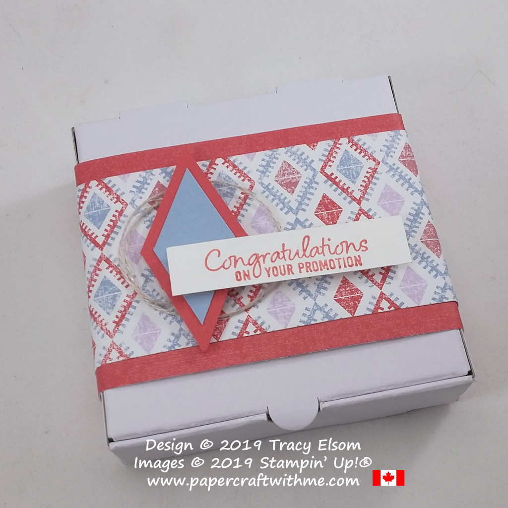 """Close up of decorated Mini Pizza Box with """"Congratulations on your promotion"""" sentiment from the Welcome To The Team Stamp Set from Stampin' Up!"""