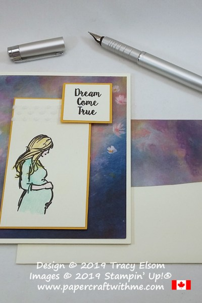 "Card with ""Dream come true"" sentiment and pregnant lady image created using the Wonderful Moments Stamp Set from Stampin' Up!"