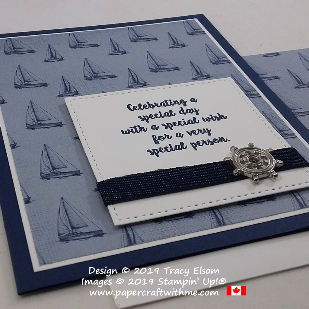 """Close up of """"special wish"""" sailing-themed card created using the Wonderful Moments Stamp Set and other products from Stampin' Up! #papercraftwithme"""