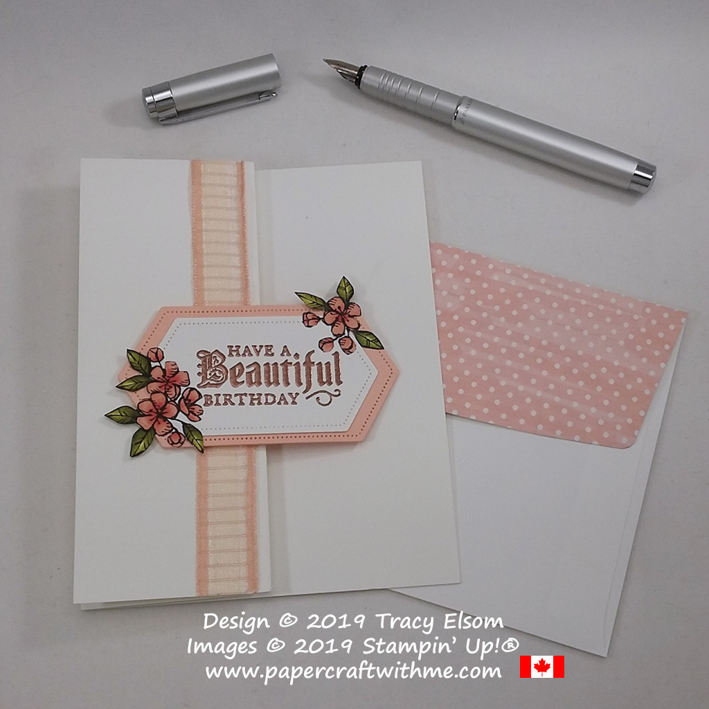 """Elegant card with copper embossed """"Have a beautiful birthday"""" sentiment from the Painted Glass Stamp Set from Stampin' Up! #papercraftwithme"""