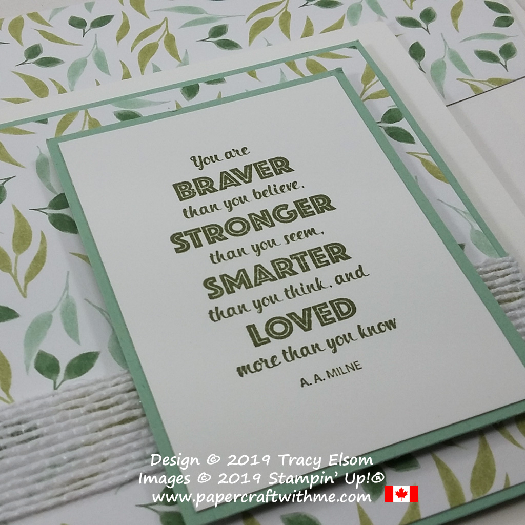 Close up of card with AA Milne's Braver Stronger Smarter Loved sentiment from the Rustic Retreat Stamp Set by Stampin' Up!