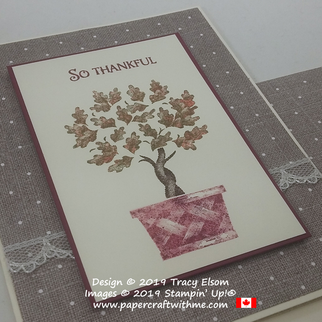 "Close up of ""So thankful"" card in fall / autumn colours created using the Beauty & Joy Stamp Set from Stampin' Up! #papercraftwithme"