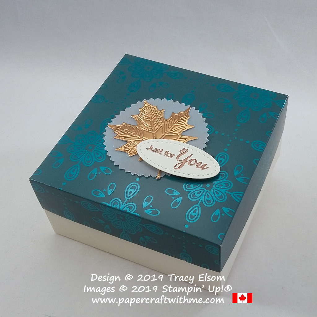 """Simple two part box with copper maple leaf embellishment and embossed """"Just for you"""" sentiment created using products from Stampin' Up! #papercraftwithme"""
