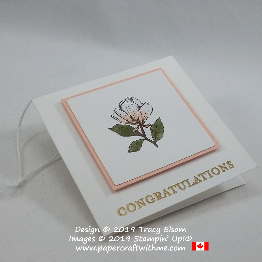 """Close up of 3"""" x 3"""" congratulations gift tag with fussy cut mini magnolia bloom created using the Magnolia Blooms Stamp Set and Magnolia Lane patterned paper from Stampin' Up! #papercraftwithme"""