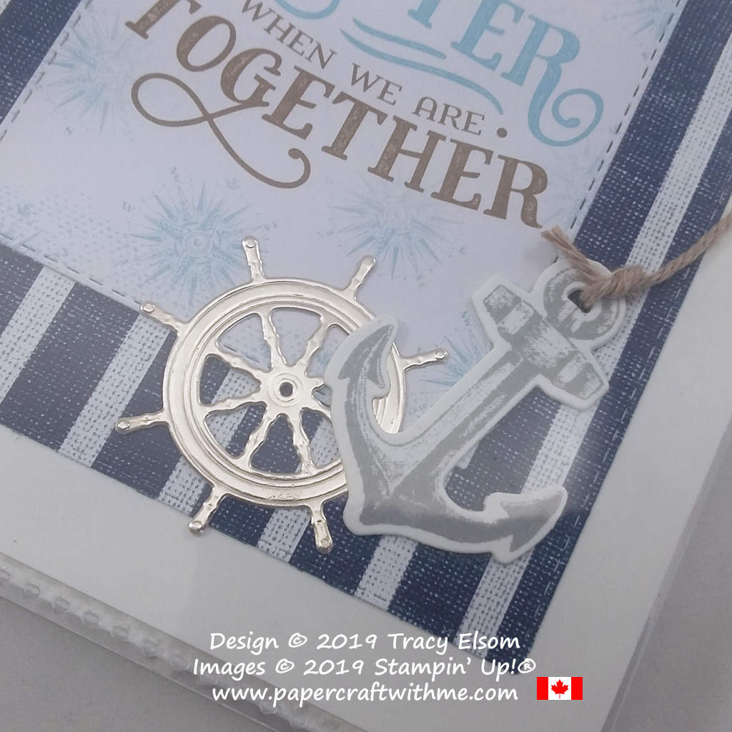 Close up of nautical pocket photo album created using the products from the Come Sail Away Suite from Stampin' Up! #papercraftwithme