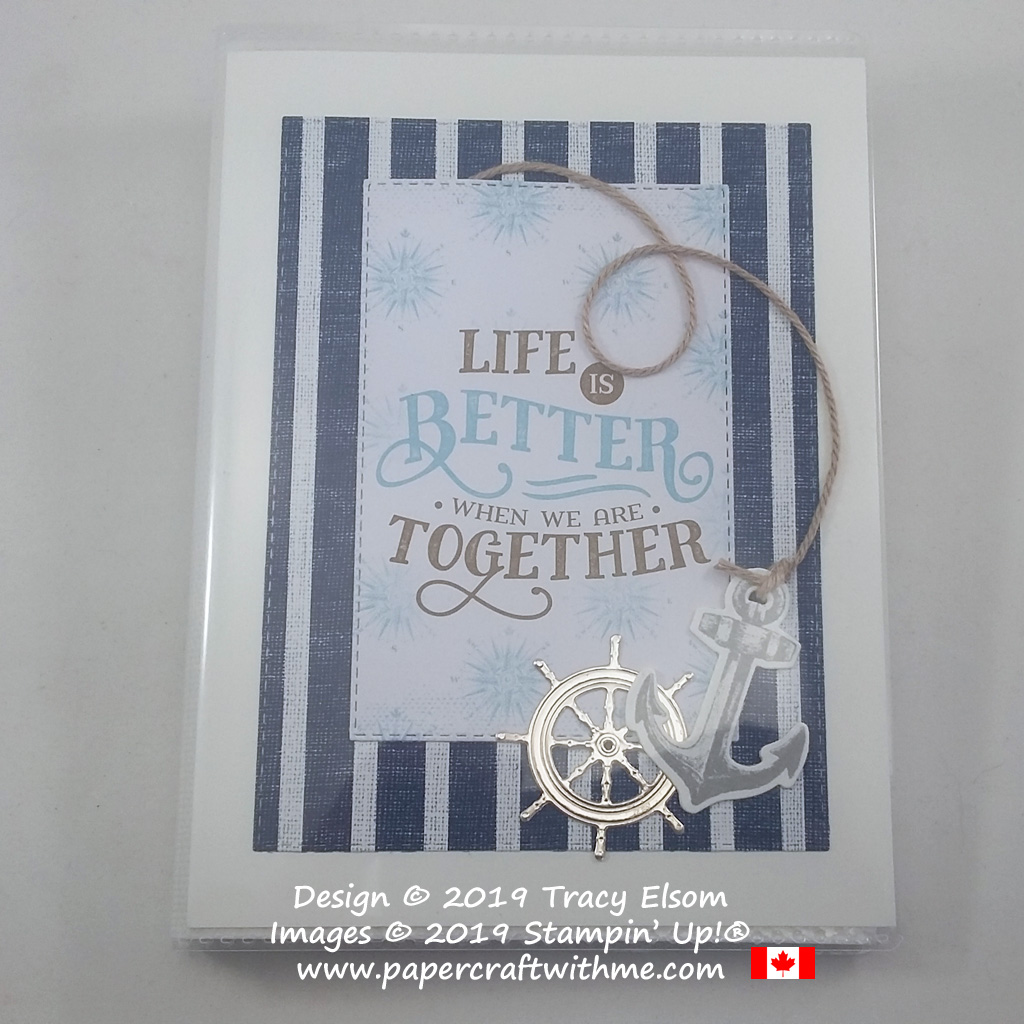 "Nautical pocket photo album with ""Life is better when we are together"" sentiment, created using the products from the Come Sail Away Suite from Stampin' Up! #papercraftwithme"