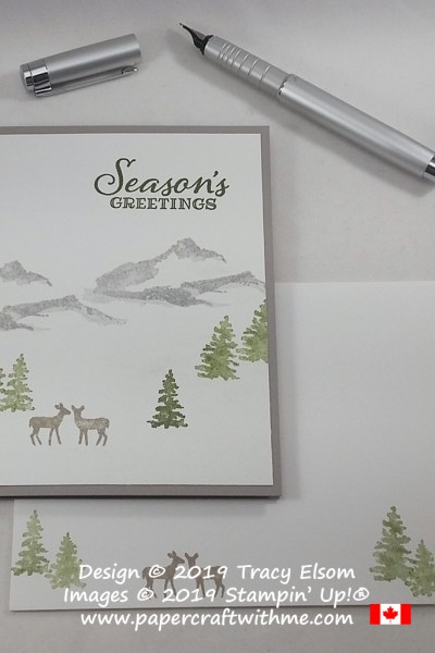 Simple Christmas card with winter deer scene created using the Snow Front Stamp Set from Stampin' Up! #papercraftwithme